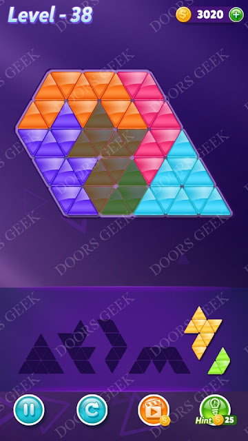 Block! Triangle Puzzle Intermediate Level 38 Solution, Cheats, Walkthrough for Android, iPhone, iPad and iPod