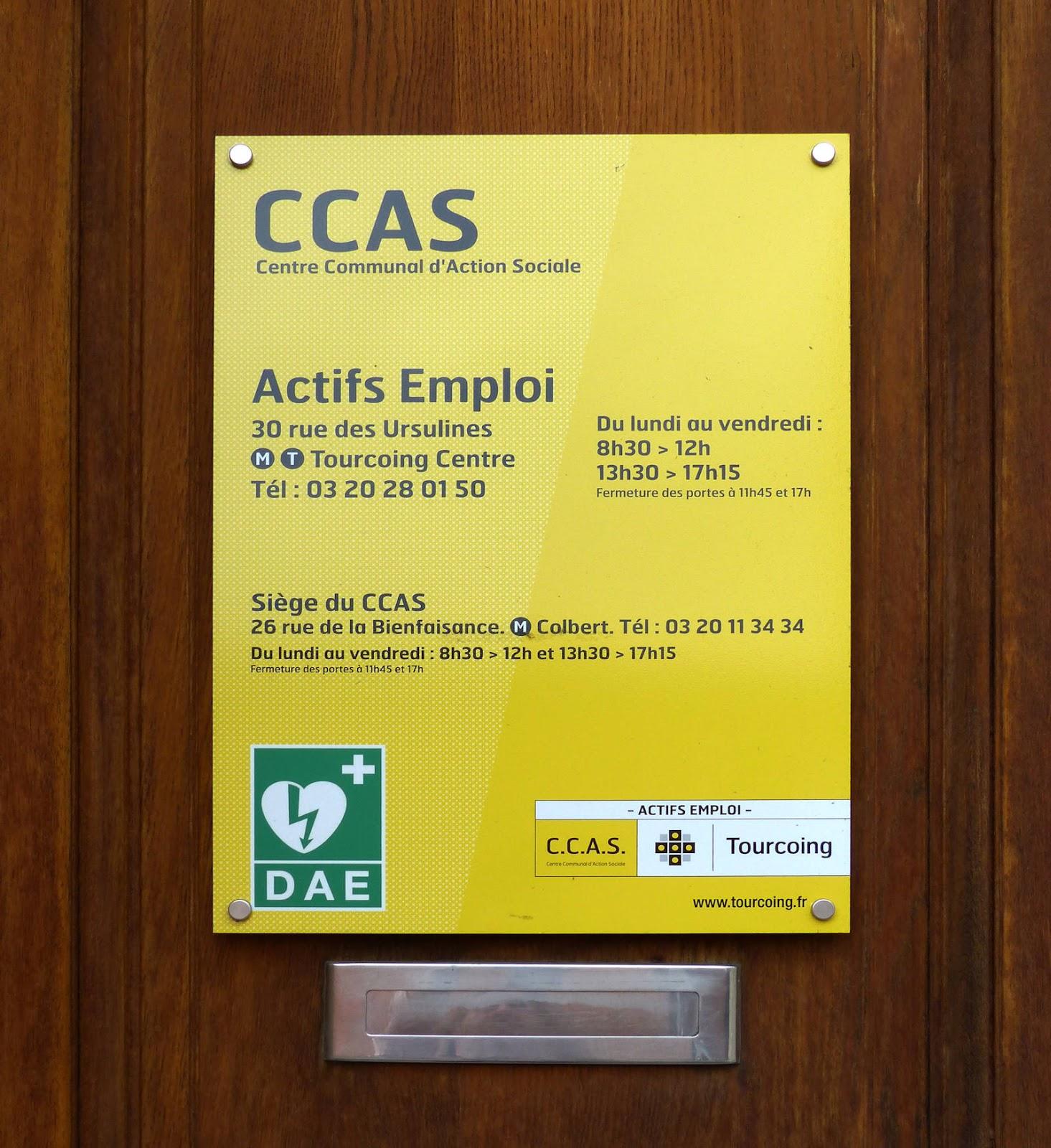 Horaires CCAS Actifs Emploi Tourcoing