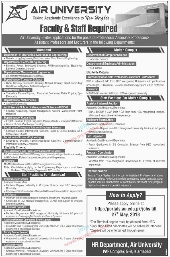 ⇨ #Jobs - #CareerOpportunities | Faculty and Staff Required  to Air University Islamabad - Apply latest by May 27, 2018