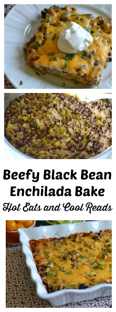 A delicious family friendly and budget friendly Mexican meal! Great for weeknights and leftover for lunch! Beefy Black Bean Enchilada Bake Recipe from Hot Eats and Cool Reads