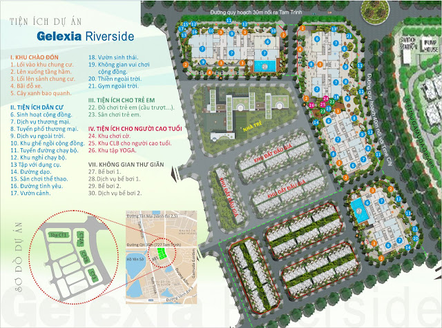 Mặt bằng tiện ích toàn khu dự án Gelexia Riverside