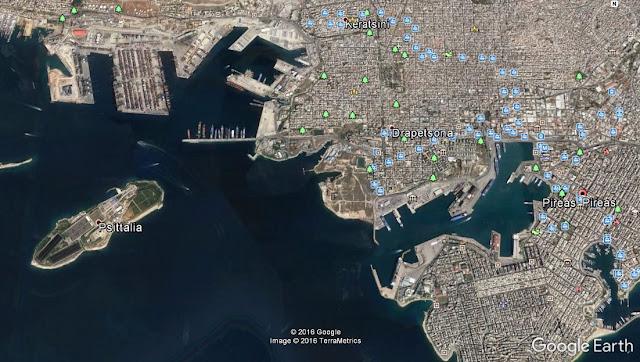 Map Attribute: Port of Piraeus, Greece / (c) 2016 TerraMetrics and Google Earth