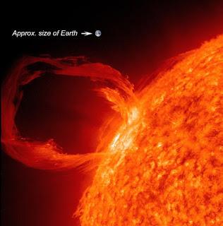 Llamarada solar comparada con el tamaño de la Tierra