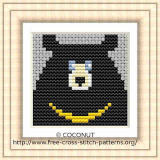 Bear 3, Free and easy printable cross stitch pattern