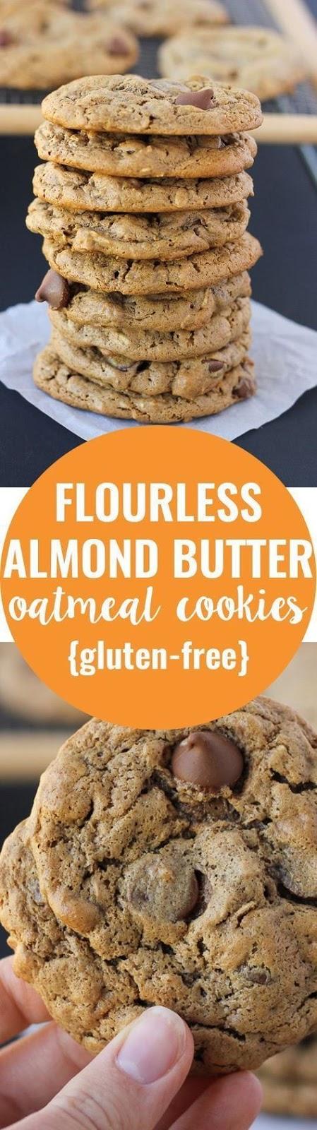 flourless oatmeal almond butter chocolate chip cookies {gluten-free}