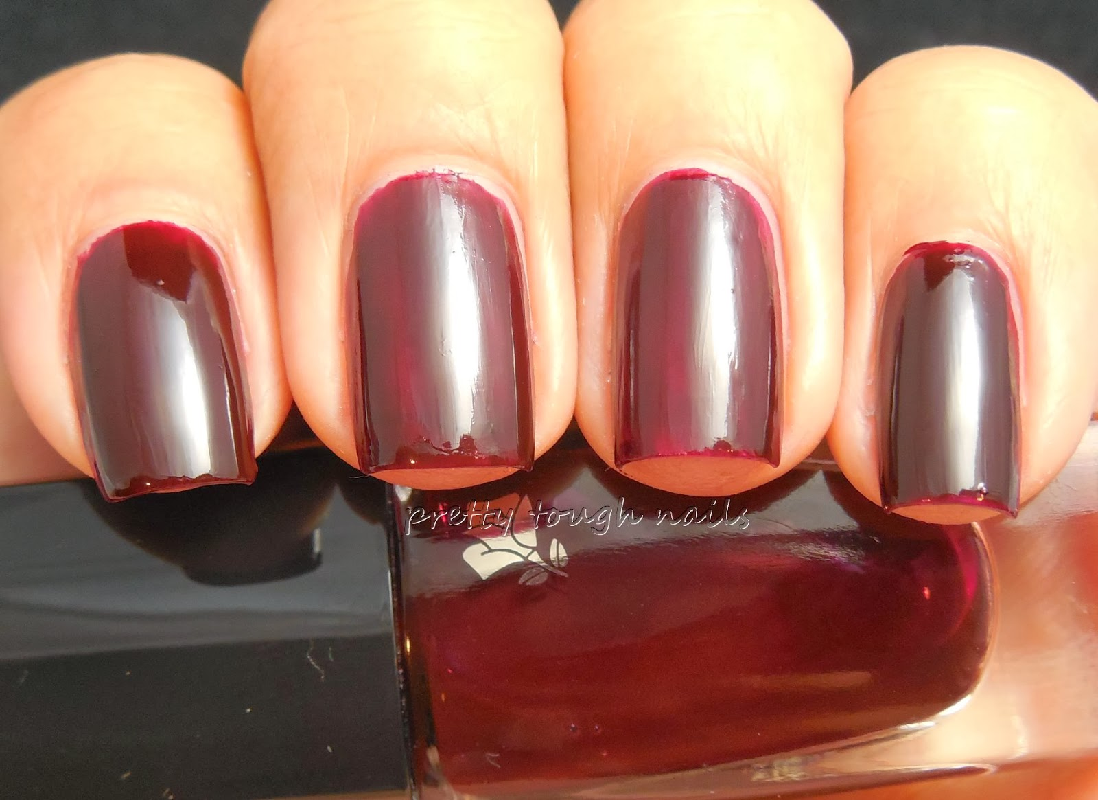 Pretty Tough Nails Hare Polish Shine Over Lancome Rouge Reglisse Swatch And Review