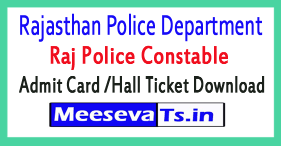 Rajasthan Police Constable Admit Card /Hall Ticket Download 2017