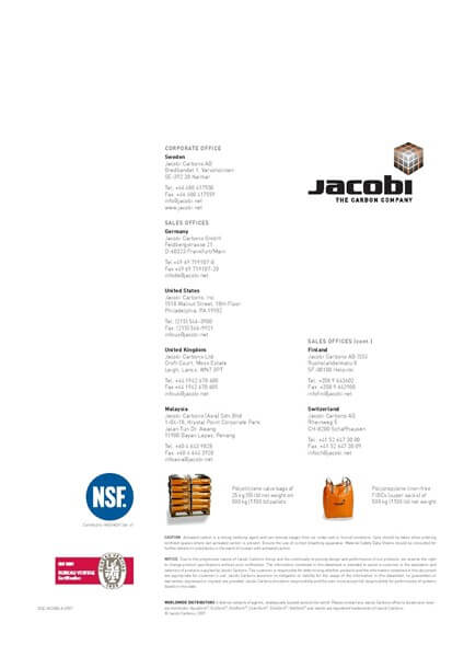 Technical Data Sheet (TDS) Karbon Aktif Jacobi AquaSorb 2000