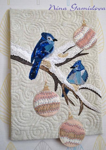 арт-квилт: Птички, как игрушки. Учебная работа.