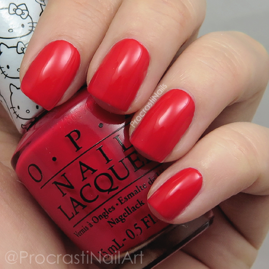 Swatch of OPI 5 Apples Tall from the Hello Kitty Collection