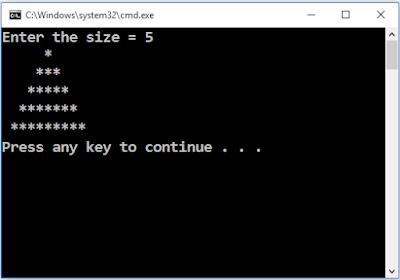 Write a C++ program to draw isosceles triangle using asterisks