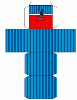 Caja Cubo para Imprimir Gratis de Fiesta de Spiderman.