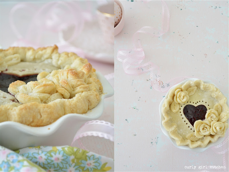 Pie, Cherry Pie, Berry Pie, Valentine's Day, Valentine's Baking, Heart Cutout Pie, Rose Pie