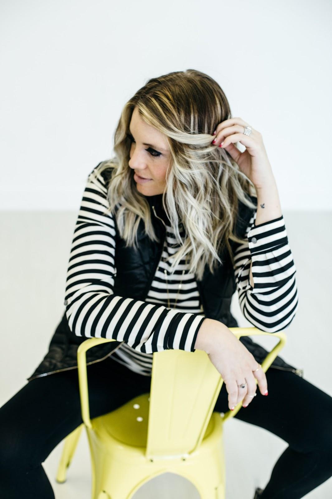 Utah Fashion Blogger, Black and White Outfit, Stripes