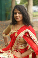 Akshara in Red Saree Golden Choli at LV Movie Makers Production No 1 Movie Opening ~  Exclusive 004.JPG