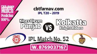 KKR vs KXIP IPL 2019 52nd Match Prediction Today Who Will Win