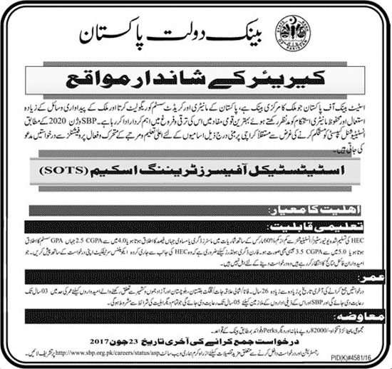 State Bank of Pakistan SBP For Statistical Officers Training Scheme June 2017