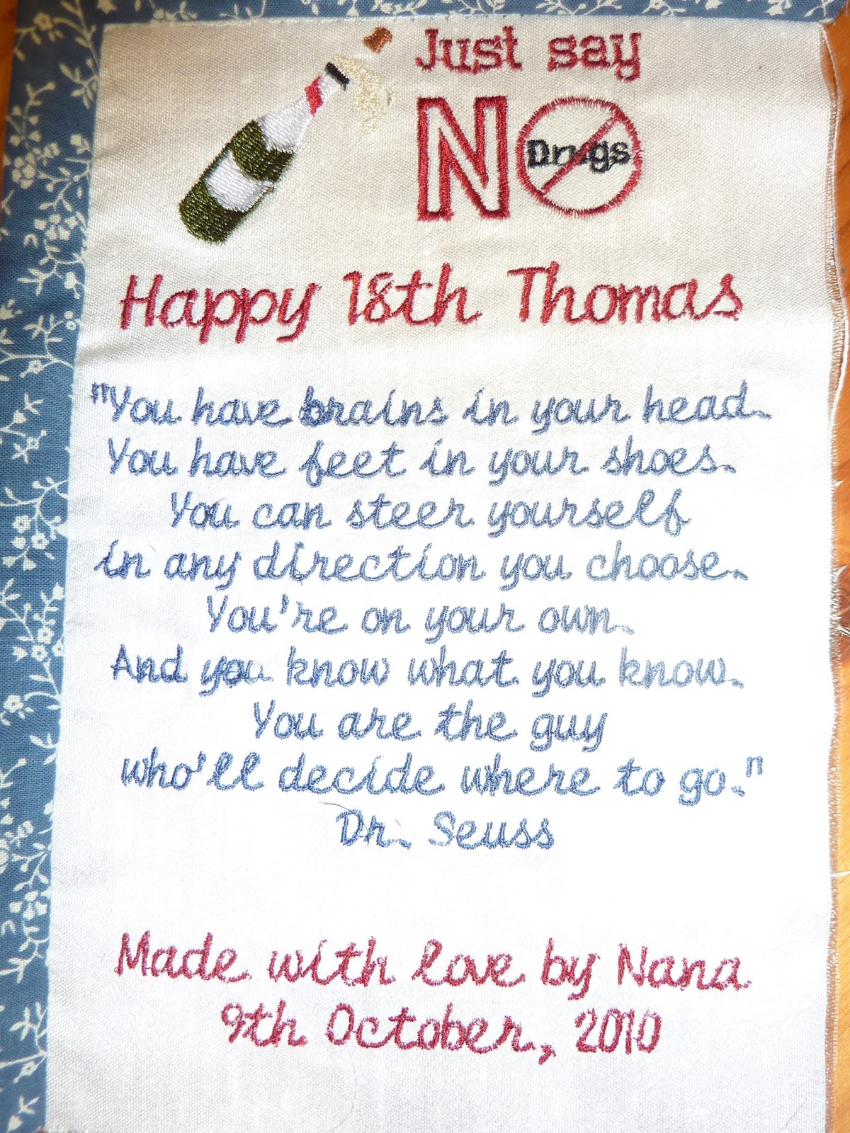 Kay Quilts 18th Birthday Quilt For 7th Grandson Thomas Dungavell