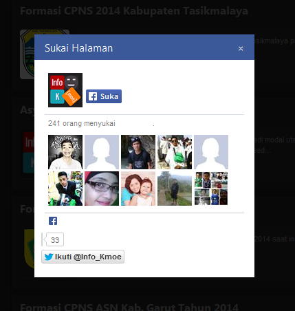 Cara Membuat Widget Pop up Facebook Like Box Ringan