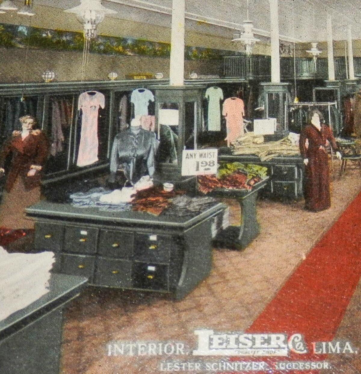 Leiser Clothing Store Interior Vintage Postcard   Collecting Lima Ohio