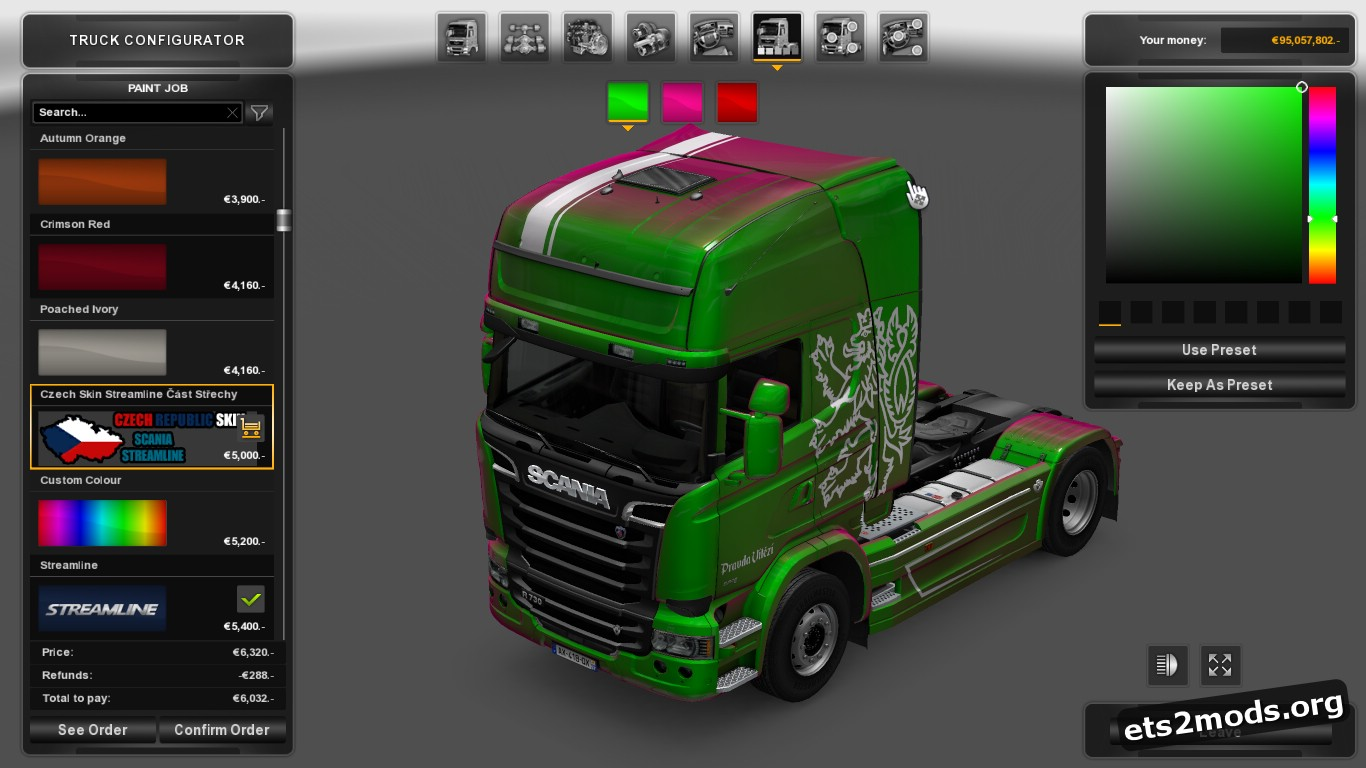 Metallic Czech Skin for Scania Streamline