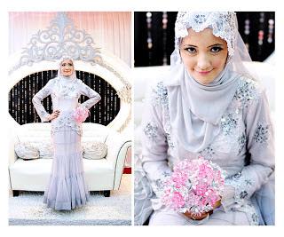 Kumpulan Foto Model Baju Pengantin Muslimah Tudung Labuh Trend