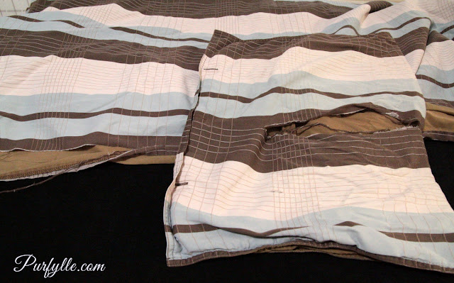 old quilt cover that split due to age is perfect for upcycling