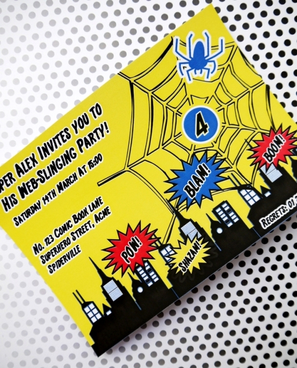 Spiderman Inspired Super Hero Birthday Party and Printables Invitations  - via BrdsParty.com