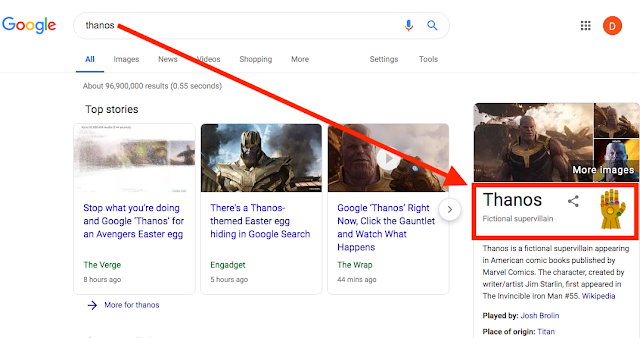 Thanos animation on Google