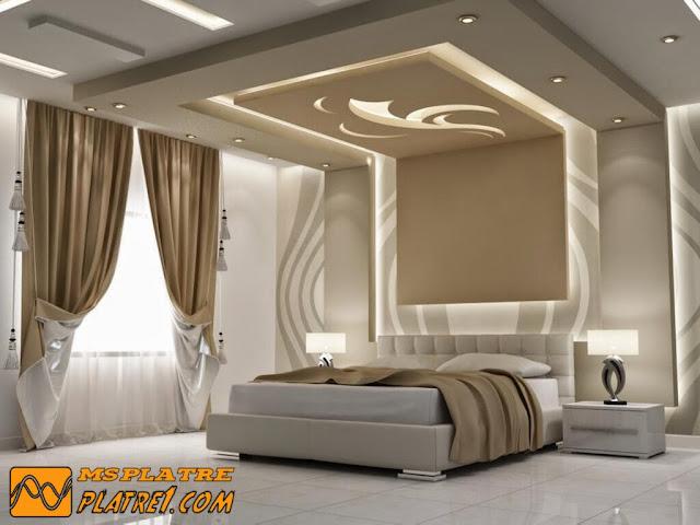 Une moderne faux plafond en plâtre pour la chambre a coucher ...