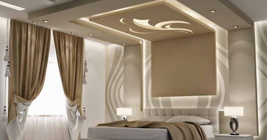 une moderne faux plafond en pl tre pour la chambre a. Black Bedroom Furniture Sets. Home Design Ideas
