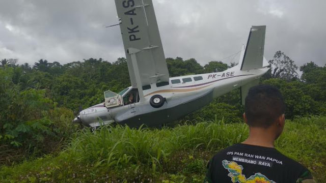 Bawa 7 penumpang, Pesawat Alfa Trans PK-ASE Tergelincir di Mamberamo Raya