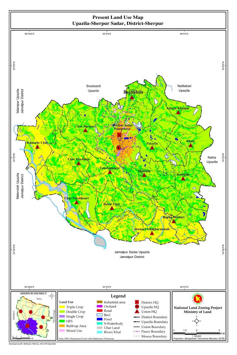 Sherpur Sadar Upazila Mouza Map Sherpur District Bangladesh