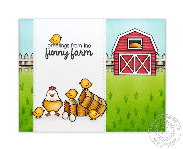 Sunny Studio Stamps: Barnyard Buddies Chicken Funny Farm Card by Mendi Yoshikawa