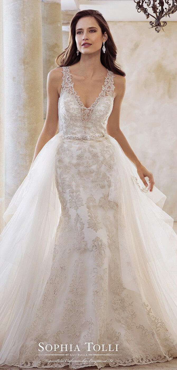 6621e7d285a Sophia Tolli Spring 2018 fit and flare bridal gown with illusion lace straps