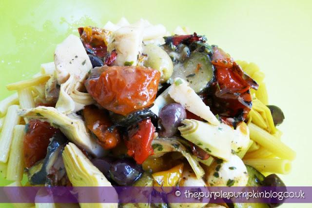 Antipasti Pasta Salad at The Purple Pumpkin Blog