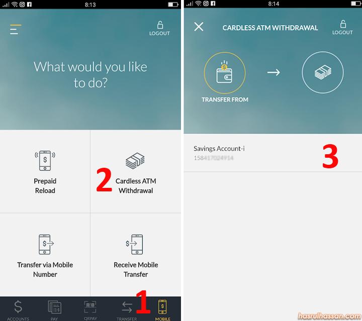Keluarkan Duit Dari ATM Maybank Guna Smartphone/Tanpa Kad