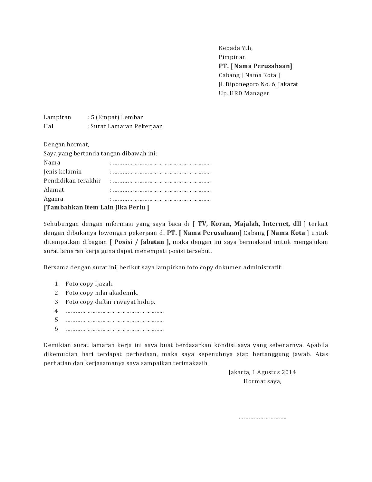 TerLengkap Kumpulan Contoh Surat Lamaran Kerja yang Baik dan Benar