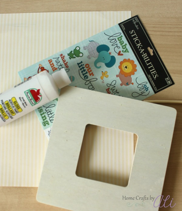 supplies used to make decorated photo frame