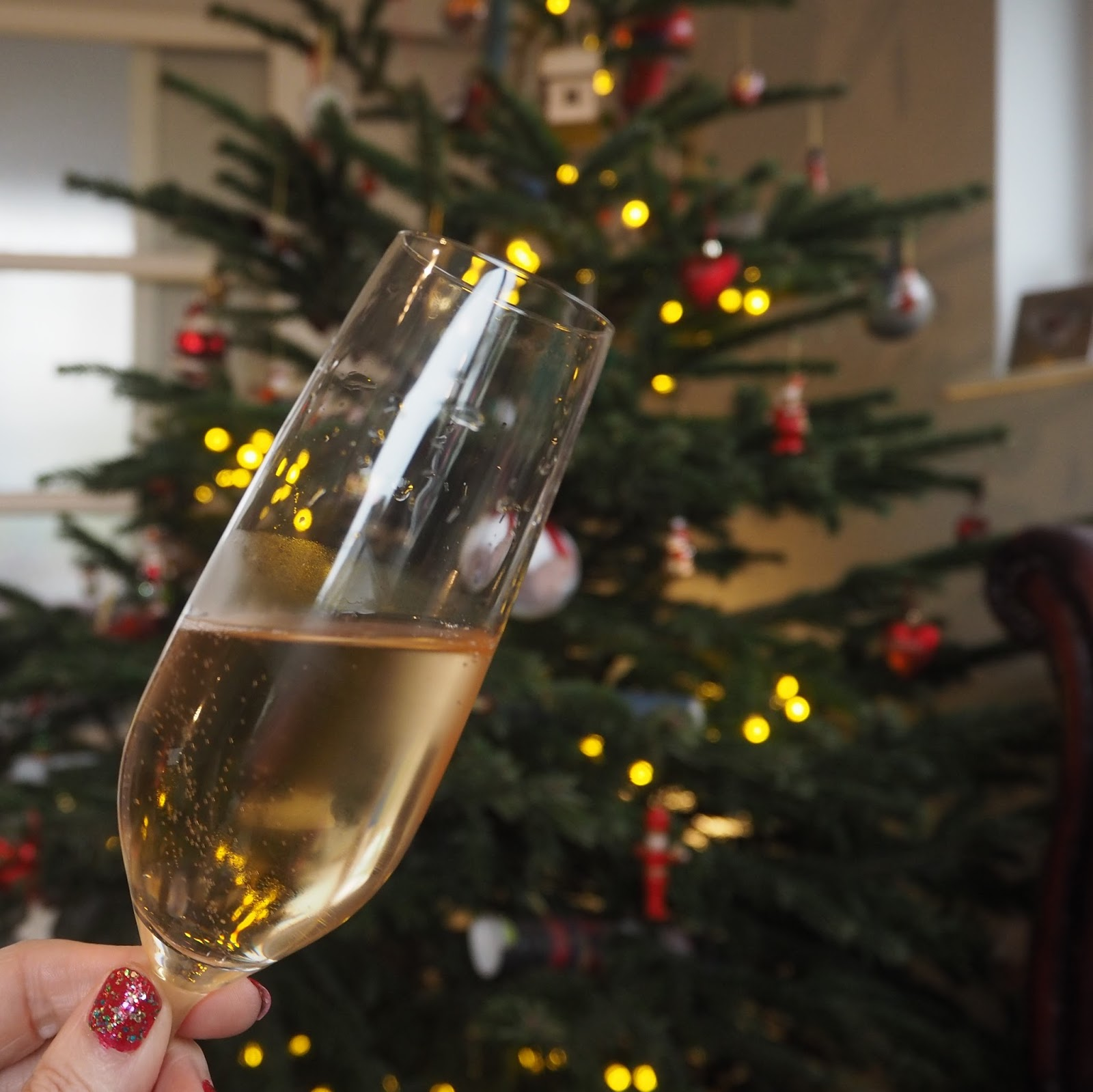Christmas day, champagne
