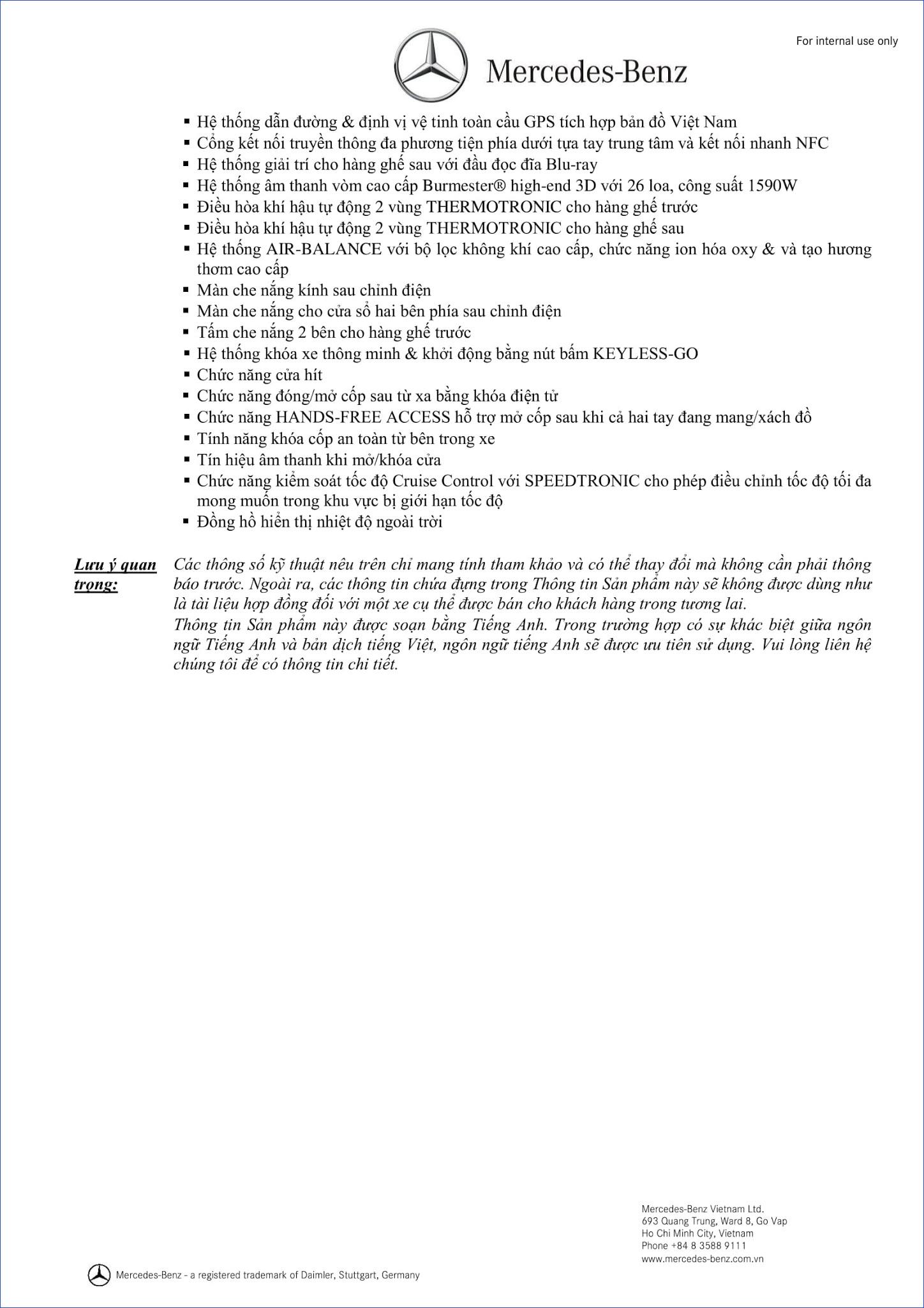 Bảng thông số kỹ thuật Mercedes Maybach S560 4MATIC 2019 tại Mercedes Trường Chinh