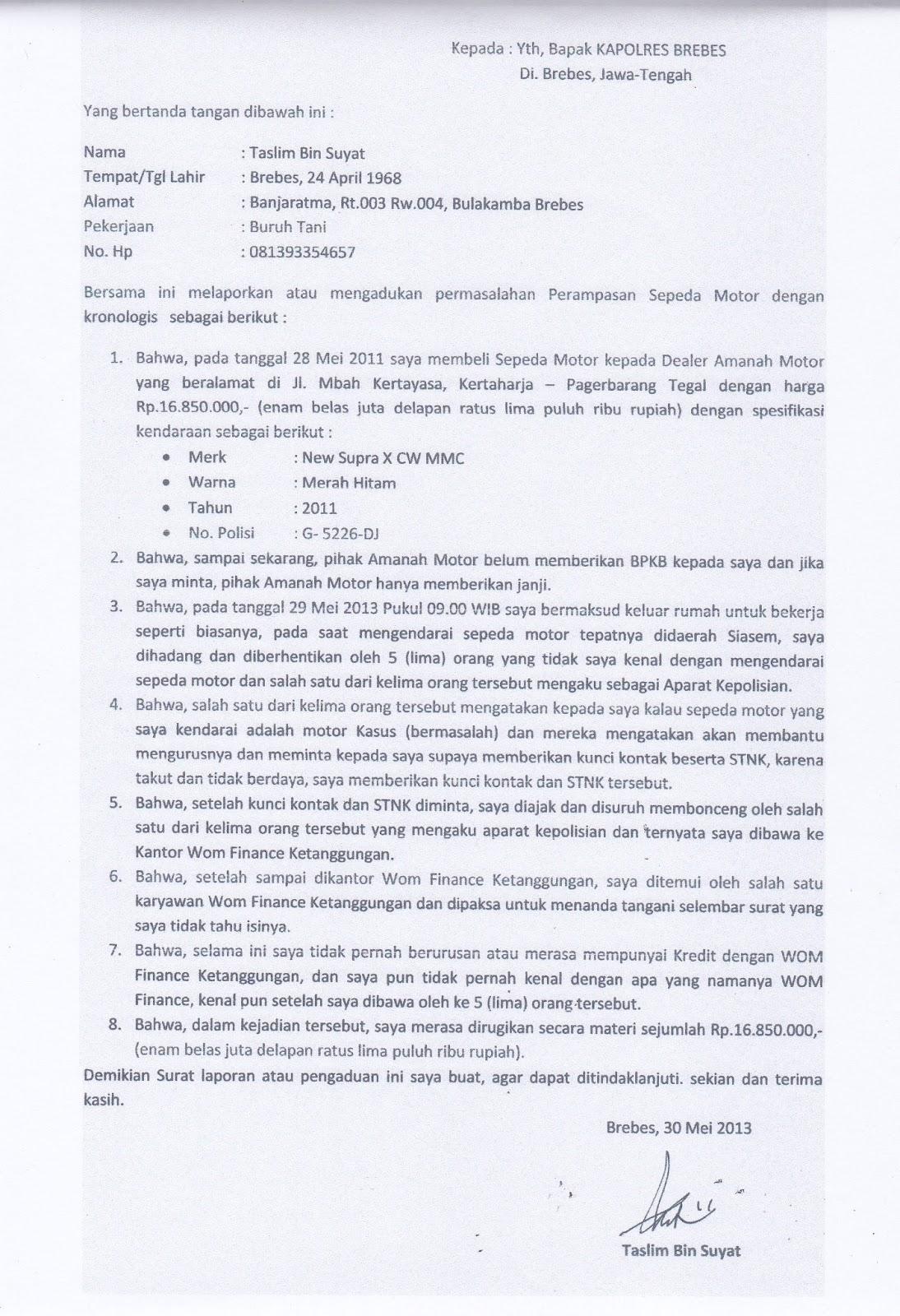Contoh Surat Laporan Pengaduan Ke Polisi Tentang Pencemaran Nama Baik Kumpulan Contoh Laporan