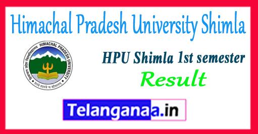 HPU Himachal Pradesh University Shimla 1st Semester BA B.Sc B.Com Result 2017-18