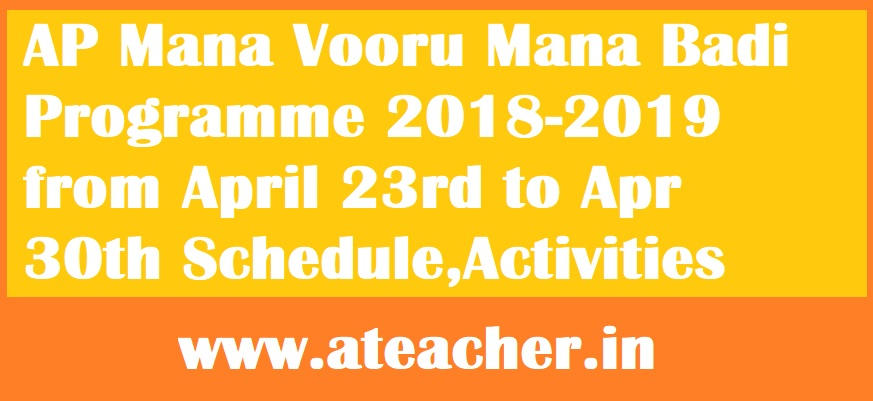 AP Mana Vooru Mana Badi Programme 2018-2019 from April 23rd to Apr 30th Schedule,Activities