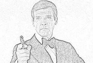 Roger Moore James Bond coloring pages jamesbondreview.filminspector.com