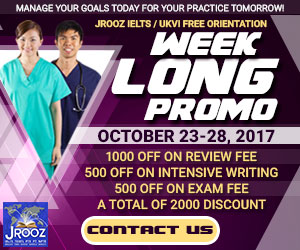 JROOZ FREE IELTS/IELTS UKVI WEEK LONG PROMO  Join us on October 23-28, 2017  Know the basics of IELTS and IELTS UKVI  GET 1000 OFF  Manage Your Goals Today For Your Practice Tomorrow!
