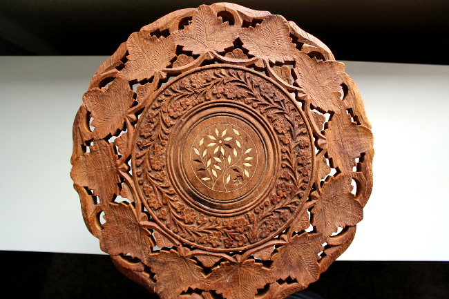 carved wood table india