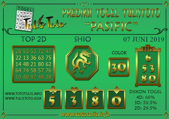 Prediksi Togel PASIFIC TULISTOTO 07 JUNI 2019