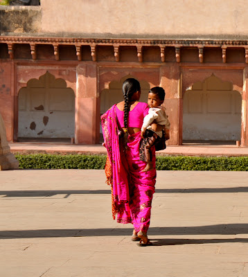 mom and son in india