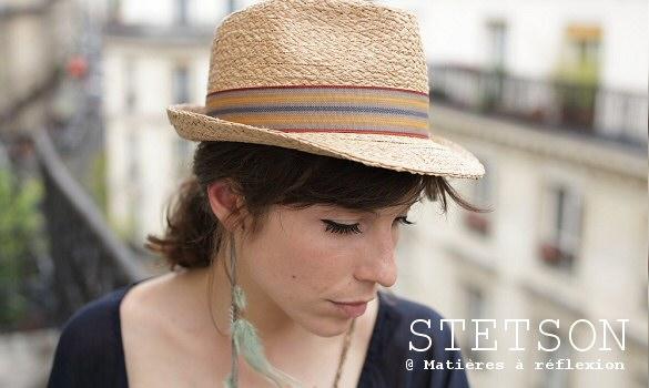chapeau femme en raffia stetson mati res r flexion paris. Black Bedroom Furniture Sets. Home Design Ideas